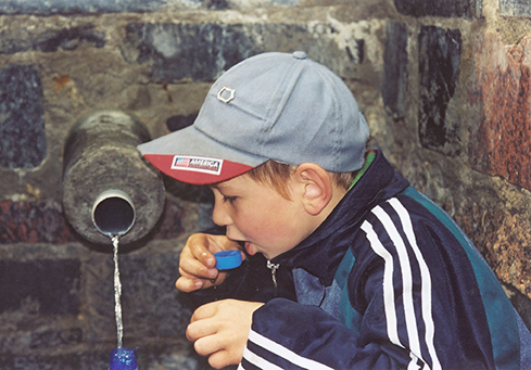 child drinking water, Ukraine